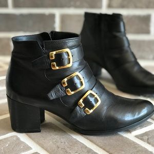 PAUL GREEN Black Leather Ankle Buckle Booties